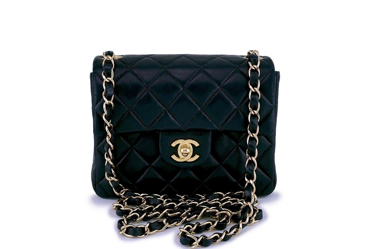 Chanel Black Classic Quilted Square Mini 2.55 Flap Bag 18k GHW