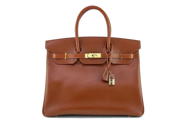 Hermes Noisette Box Calf 35cm Birkin Bag Gold HW