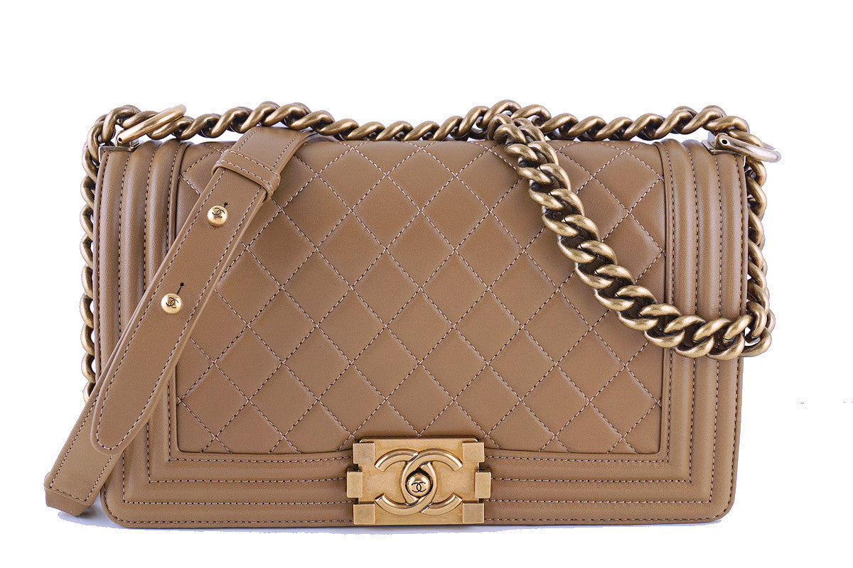 5b2b01ddf00b Chanel Caramel Beige Le Boy Classic Flap, Medium Lambskin Bag