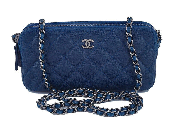 Chanel Caviar Blue Mini Camera Case Wallet on Chain WOC Bag