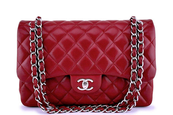 Chanel Red Caviar Jumbo 2.55 Classic Double Flap Bag SHW