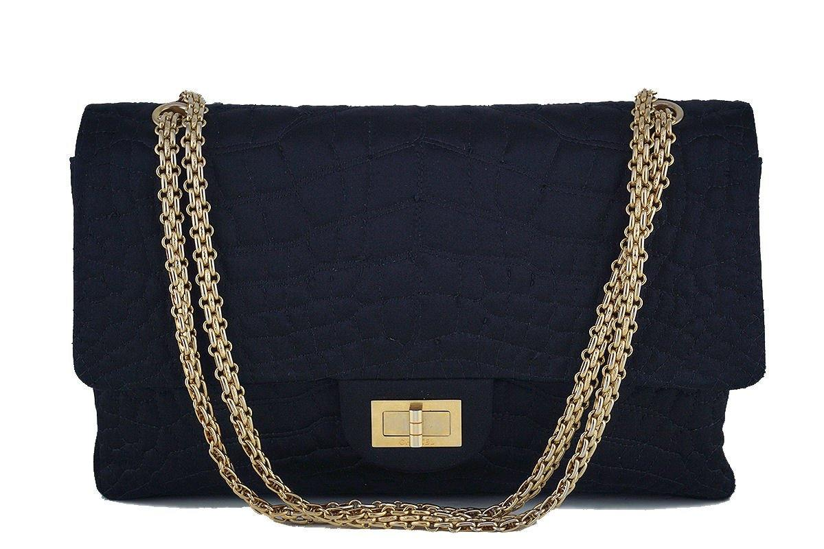 Chanel Black Quilted Satin 2.55 Reissue 227 Classic Double Flap Bag - Boutique Patina  - 1