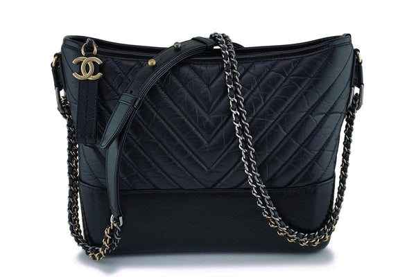 Chanel Black Calfskin Medium Chevron Gabrielle Hobo Bag