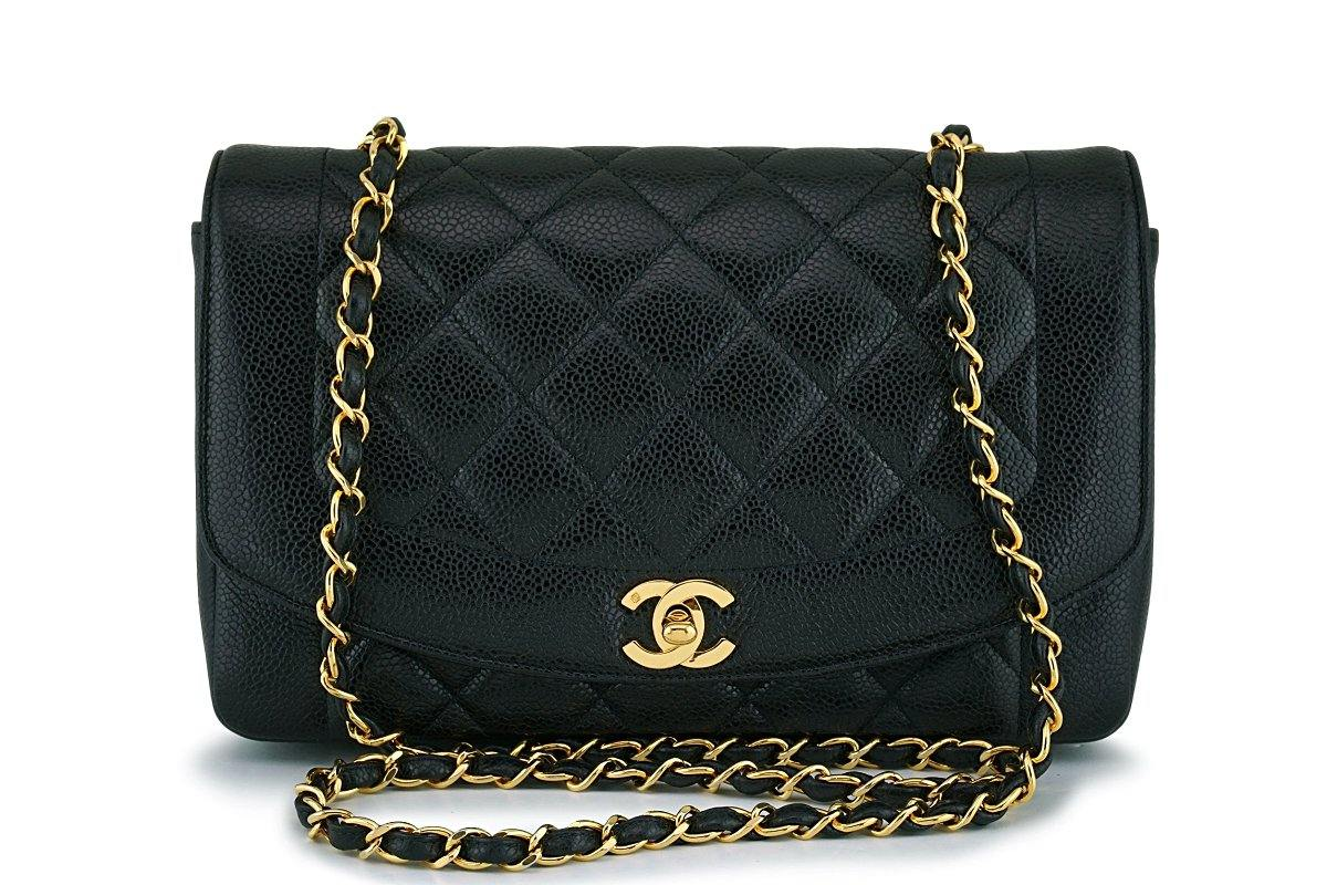 eac9991da747e9 Rare Chanel Black Caviar Diana Medium Classic Shoulder Flap Bag 24k GH