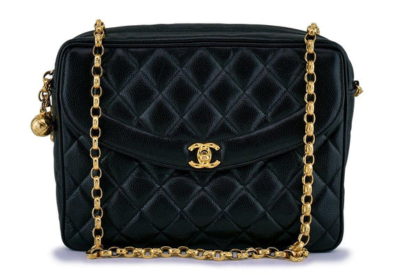"Chanel Vintage Black Caviar Classic ""Flap"" Camera Case Bag 24k GHW"