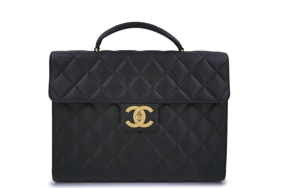 Chanel Vintage Black Caviar Briefcase Tote Bag 24k GHW