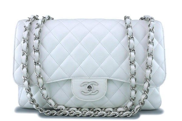 Chanel White Caviar Jumbo 2.55 Classic Flap Bag SHW
