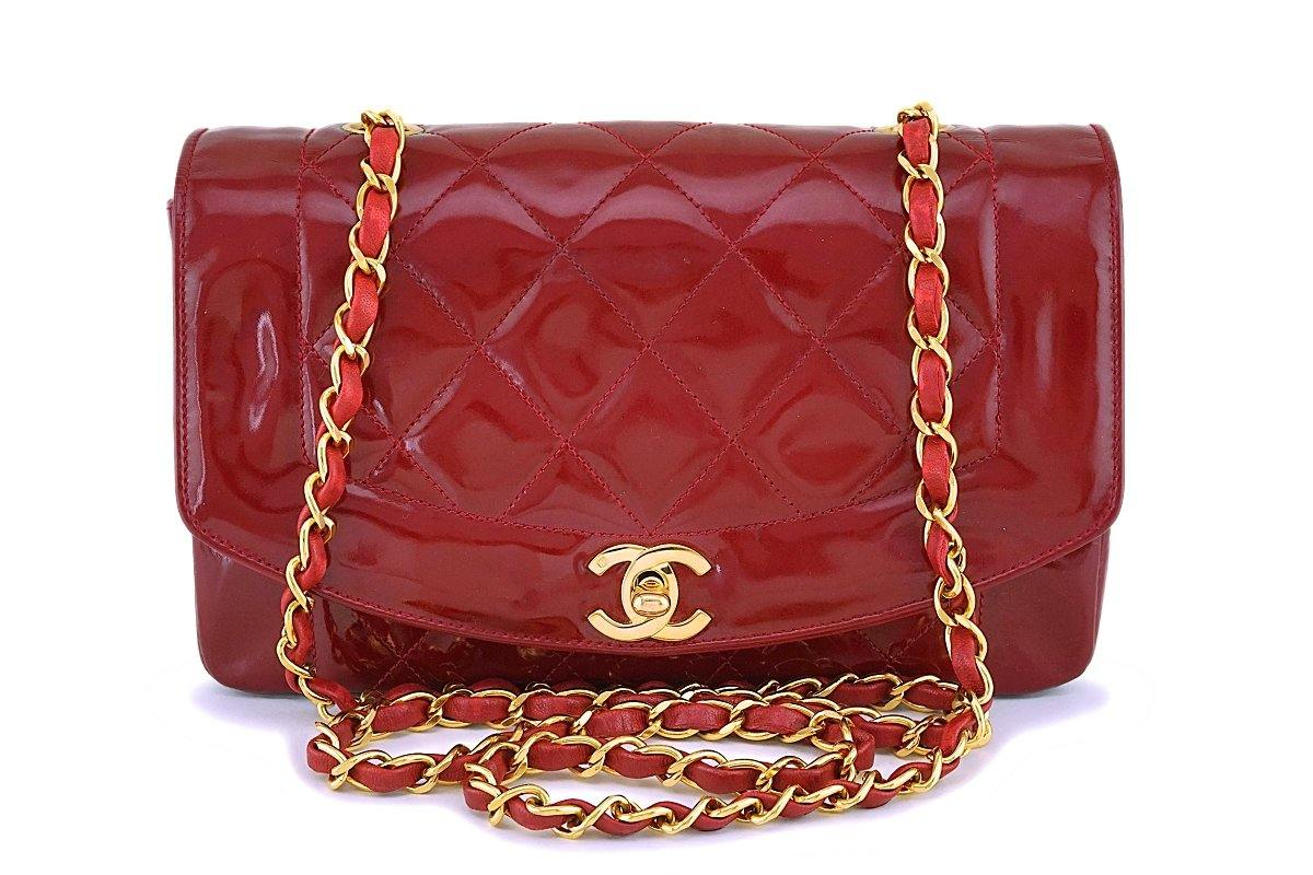 Chanel Vintage Cherry Red Patent Small Diana Classic Flap Bag 24k GHW - Boutique Patina