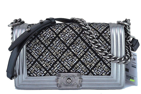 NWT 17S Chanel Silver Medium Classic Boy Embellished Flap Bag