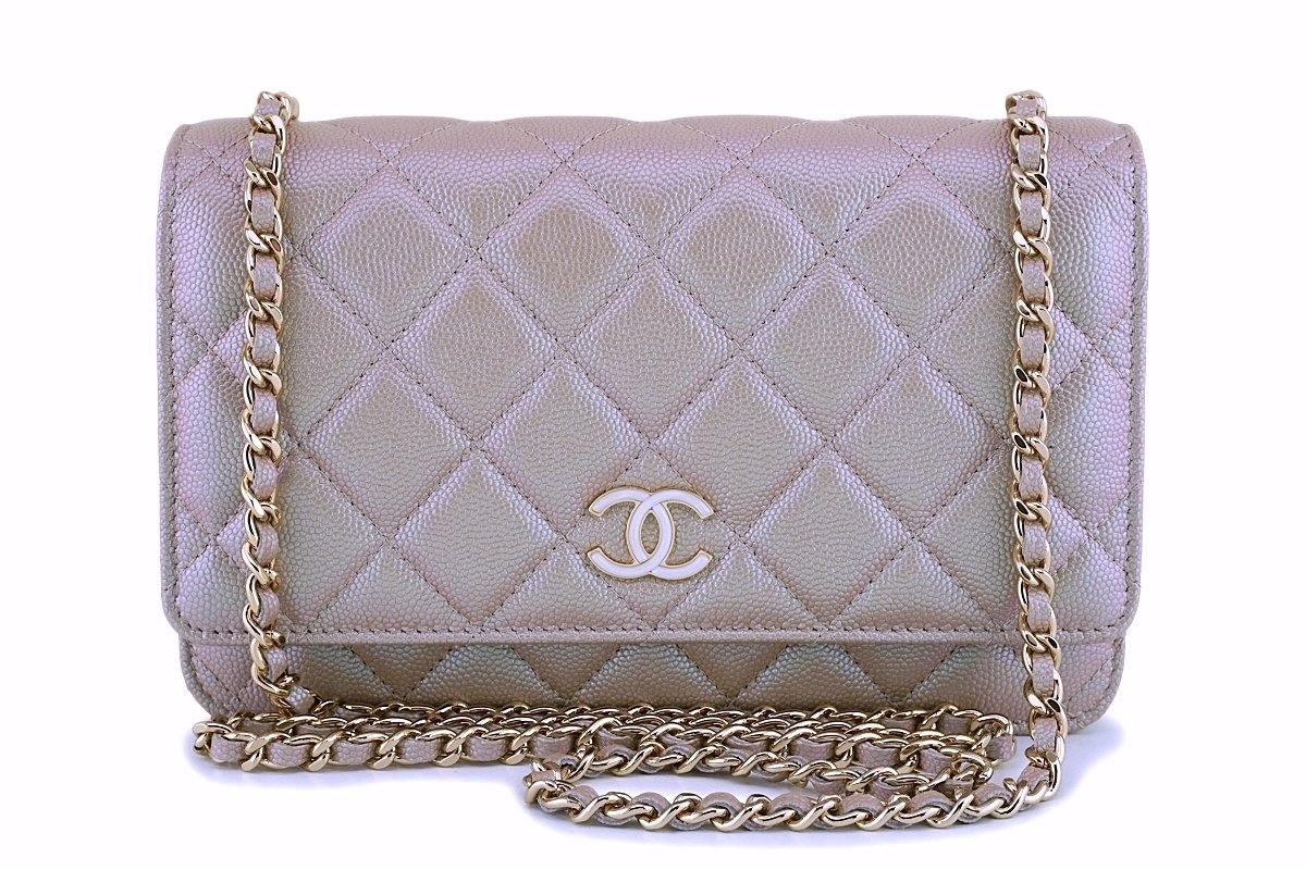 NIB 19S Chanel Iridescent Taupe Beige Rose Gold Pearly CC Wallet on Chain WOC Flap Bag