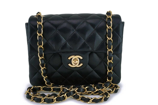 Chanel Vintage Black Lambskin Square Mini Classic Flap Bag 24k GHW