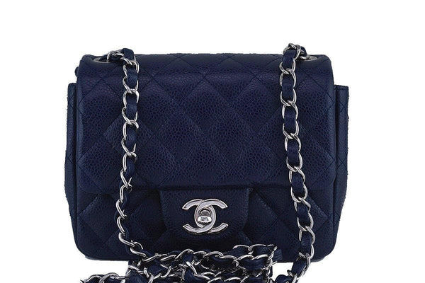 1d6654728d Chanel Navy Blue Caviar Classic Quilted Square Mini 2.55 Flap Bag