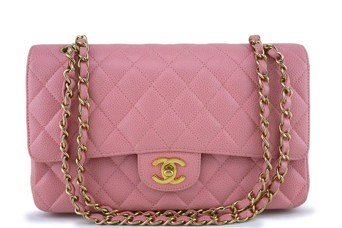 Chanel Pink Caviar Medium Classic 2.55 Double Flap Bag 18k GHW