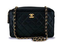 Rare Chanel Vintage Black Caviar Classic Camera Case Bag 24k GHW