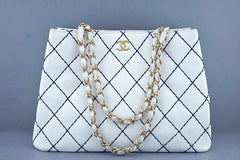 Chanel White Classic Contrast Navy Stitch Quilted Shopper Tote Bag