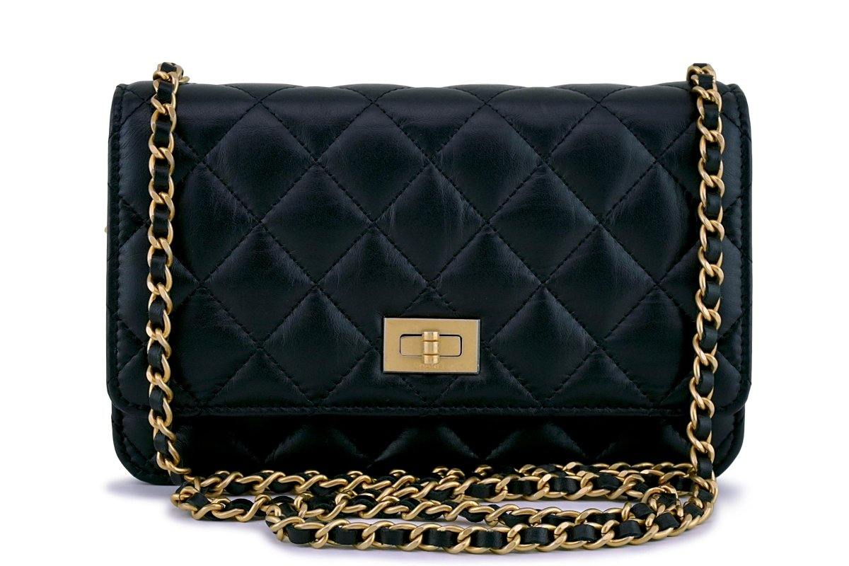 New Chanel Black Classic Reissue WOC Wallet on Chain Bag GHW
