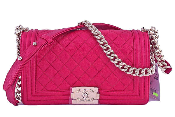 NWT 17P Chanel Fuchsia Pink Le Boy Classic Flap, Medium Caviar Bag