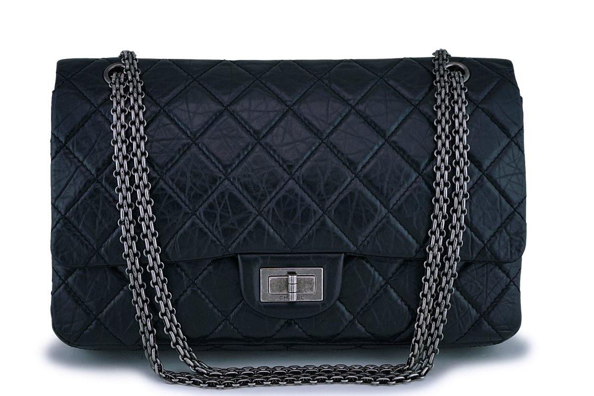 Chanel Black Aged Calfskin Reissue Classic Large Jumbo 227 2.55 Flap Bag RHW - Boutique Patina