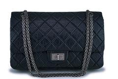 Chanel Black Aged Calfskin Reissue Classic Large Jumbo 227 2.55 Flap Bag RHW