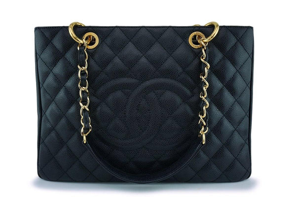 Chanel Black Caviar Grand Shopper Tote GST Bag GHW