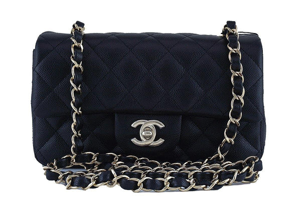 22664a95f3ce6 NWT Chanel Black Caviar Classic Quilted Rectangular Mini 2.55 Flap Bag GHW