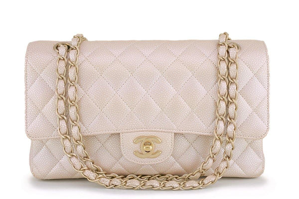 12P Chanel Pearl Beige-White Caviar Medium Classic Double Flap Bag GHW