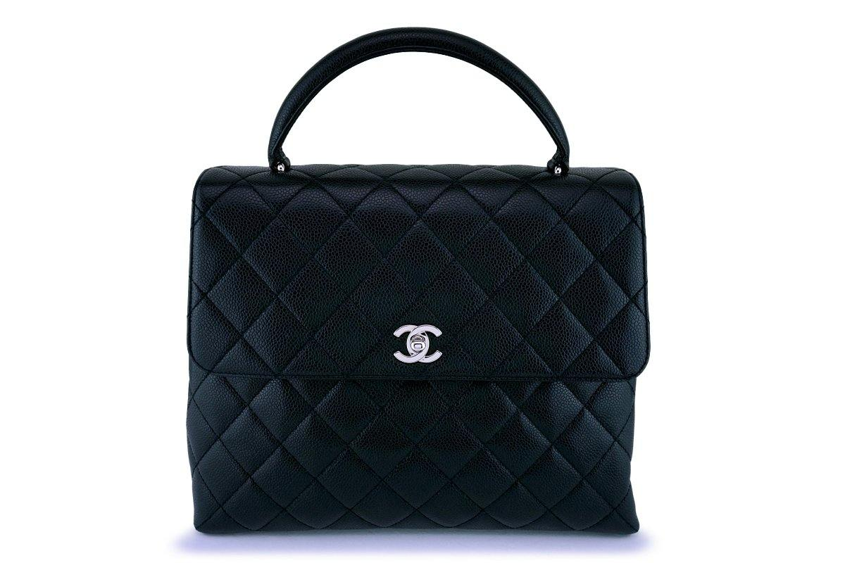 Chanel Black Caviar Large Kelly Tote Bag SHW