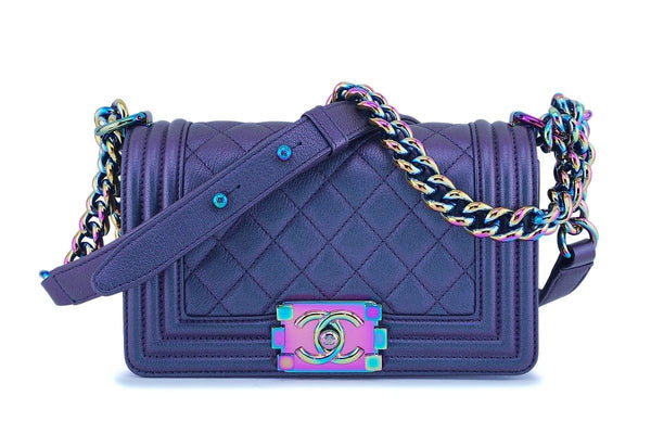 Chanel Iridescent Purple Mermaid Iridescent Small Boy Flap Bag Rainbow