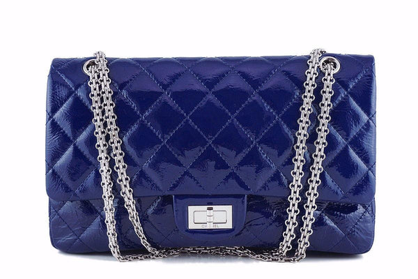 Chanel Blue Large Patent 227 Reissue Classic 2.55 Jumbo Flap Bag