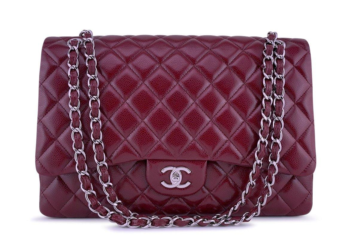 Chanel Berry Red Caviar Maxi Quilted Classic 2.55 Jumbo XL Flap Bag
