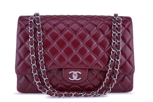 d206edc276ba28 Chanel Berry Red Caviar Maxi Quilted Classic 2.55 Jumbo XL Flap Bag