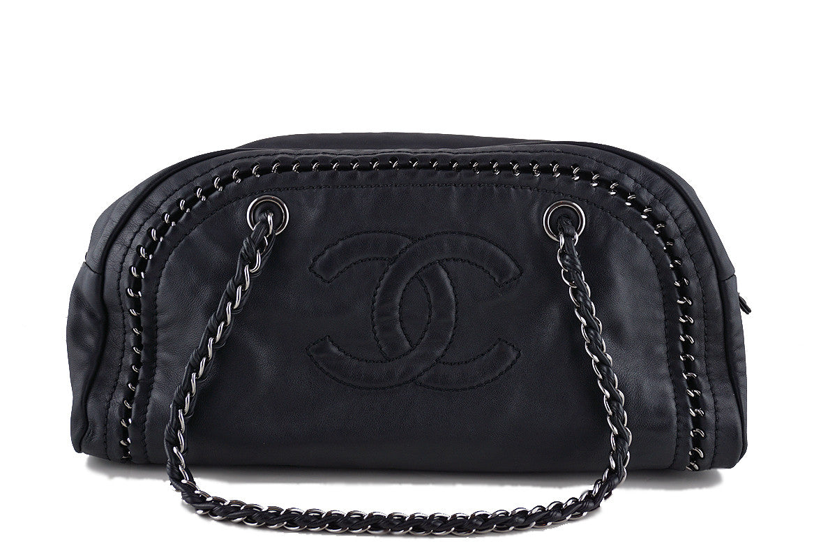 Chanel Black Calfskin Luxury Ligne Bowler Camera Bag