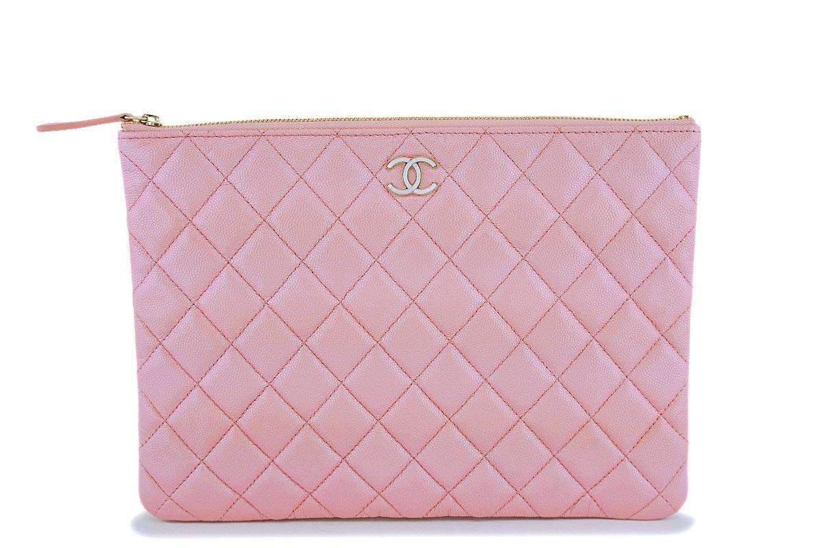 NIB 19S Chanel Iridescent Pink Pearly CC Medium O Case Clutch Bag