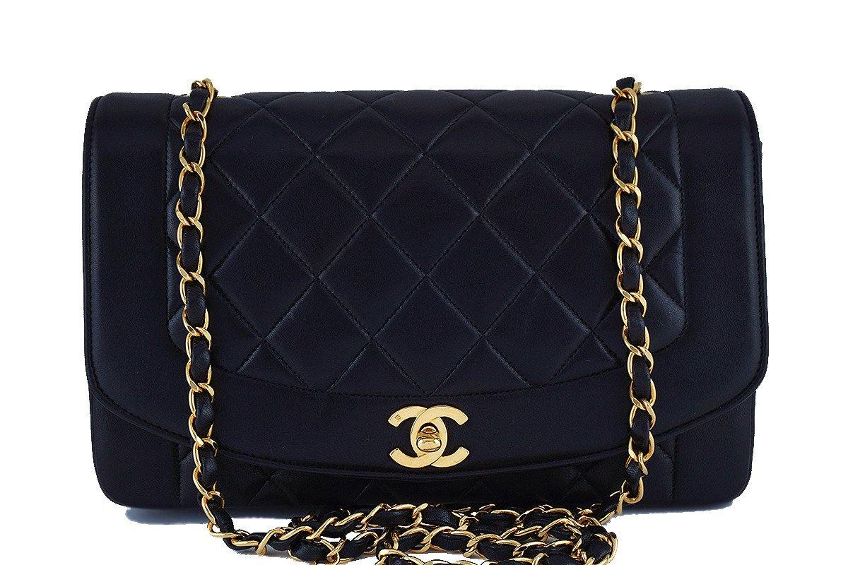 "Chanel 10in Black Vintage Quilted Classic ""Diana"" Shoulder Flap Bag - Boutique Patina  - 1"