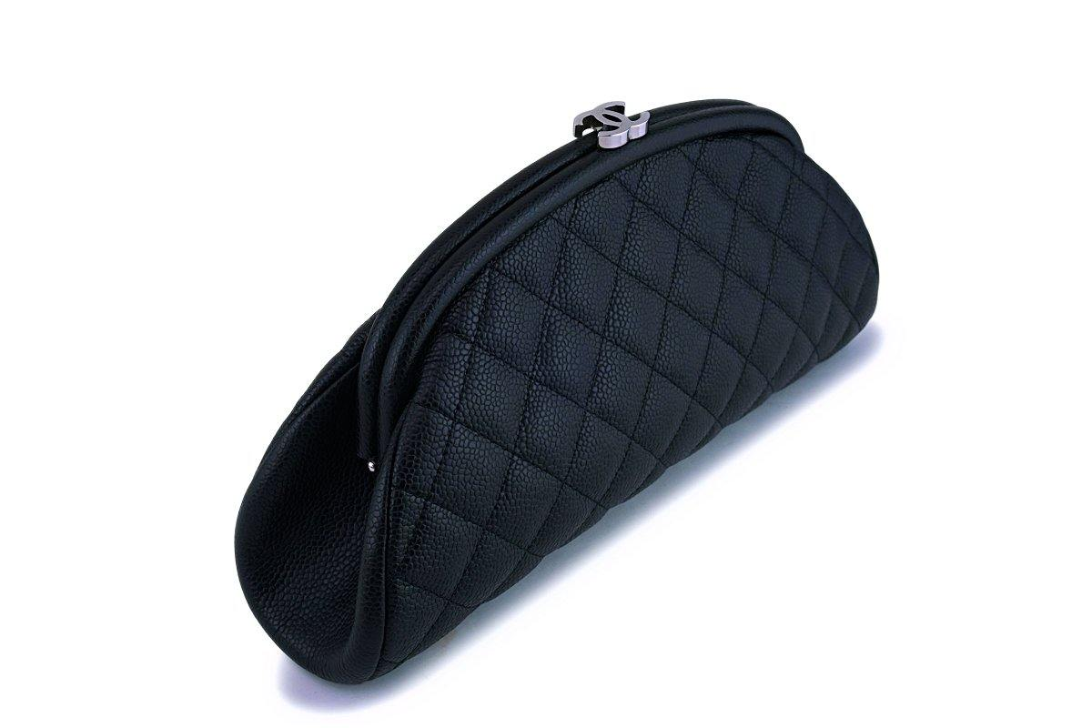 Chanel Black Caviar Timeless Quilted Kisslock Clutch Bag