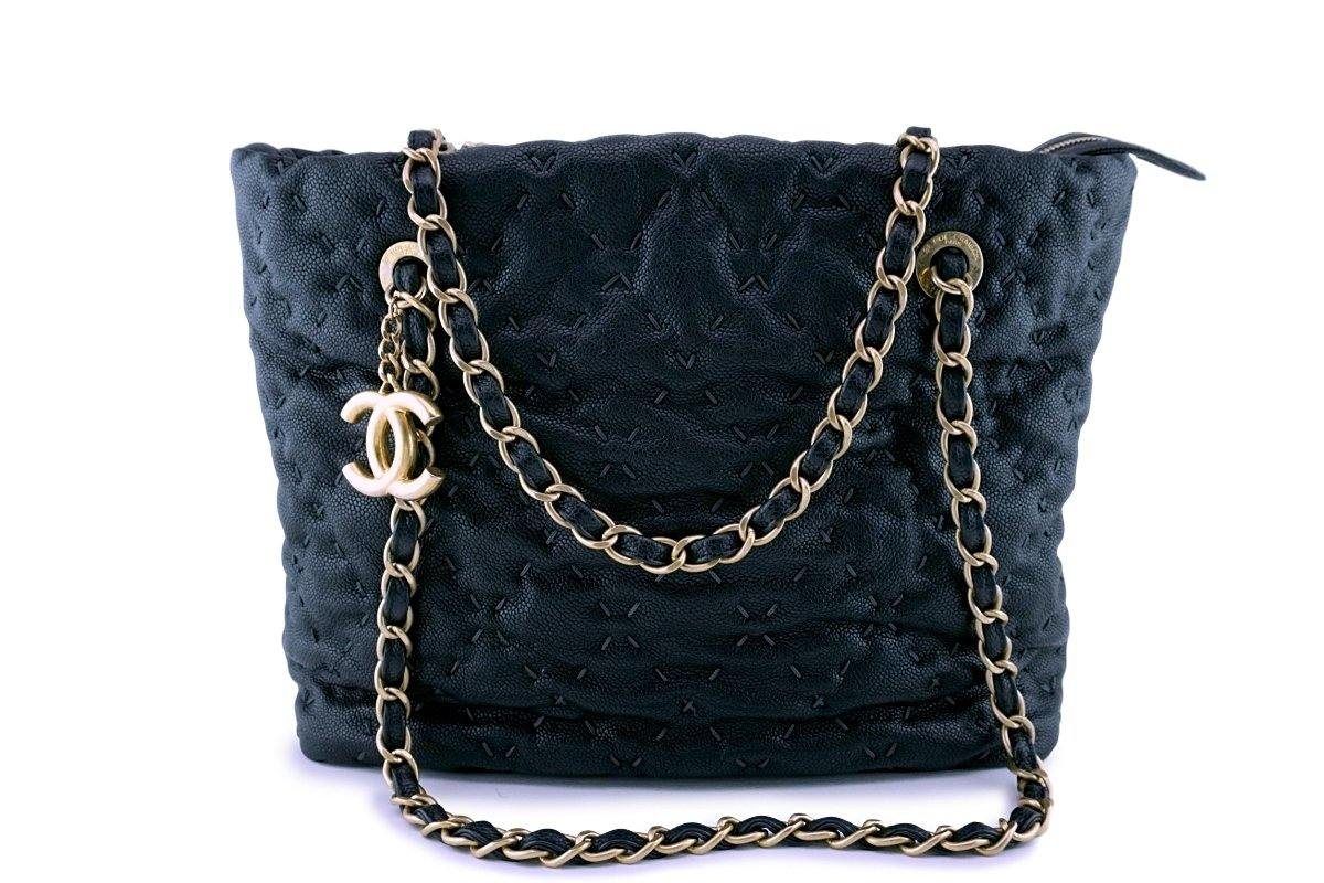 Chanel Dark Blue-Black Quilted Caviar Brushed Gold Charm Tote Bag - Boutique Patina