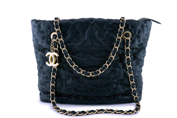 Chanel Dark Blue-Black Quilted Caviar Brushed Gold Charm Tote Bag
