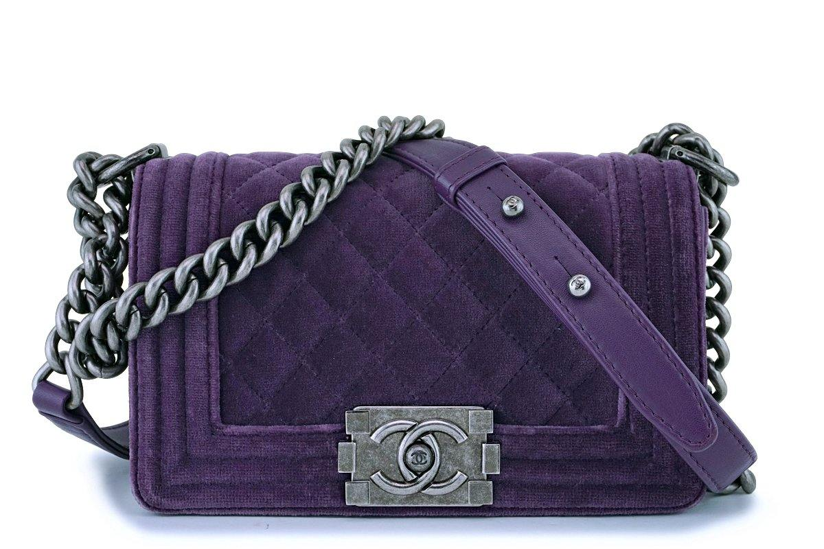 Chanel Purple Velvet Small Classic Boy Flap Bag RHW - Boutique Patina