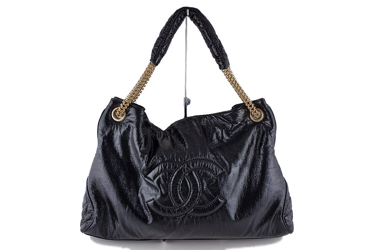 Chanel Black Patent Rock & Chain Large XL Cabas Bag
