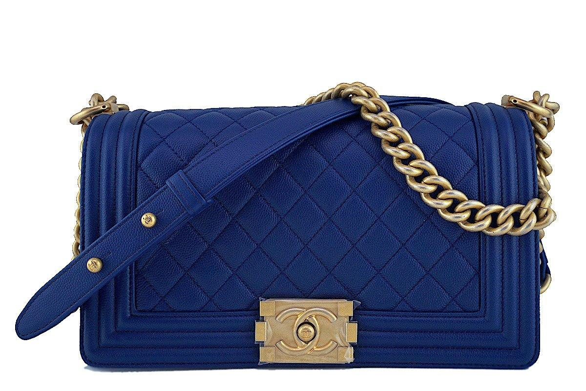 NIB Chanel Blue Boy Classic Flap, Medium Caviar Bag GHW