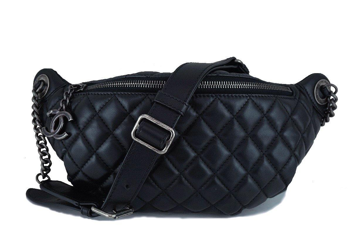 chanel black quilted classic fanny pack waist bag