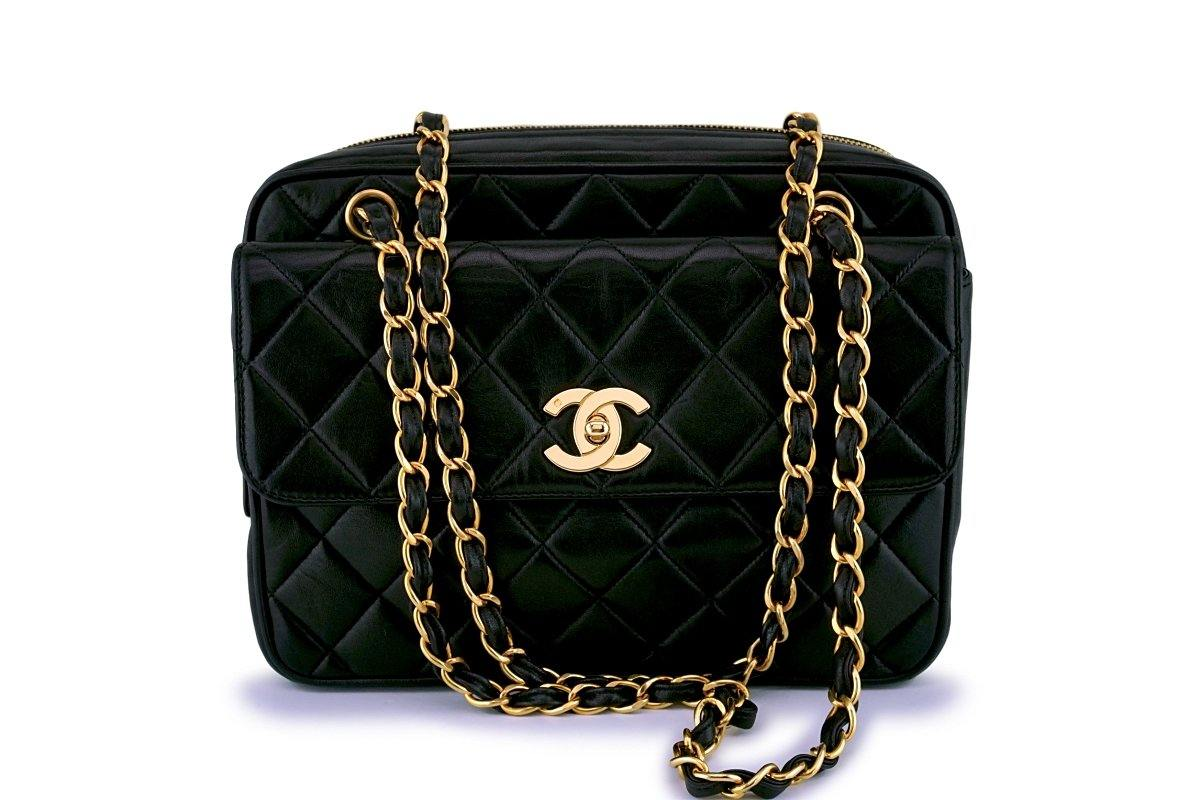 Chanel Vintage Black Lambskin Camera Flap Tote Bag GHW - Boutique Patina