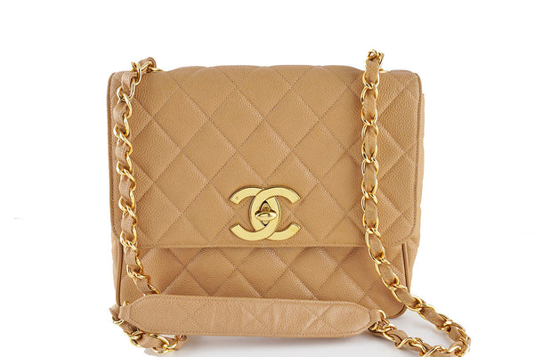 Chanel Caviar Beige Quilted Vintage Square Classic Flap Bag