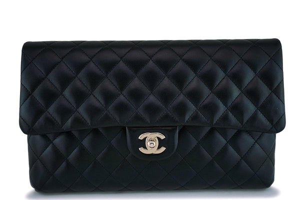 NIB 18B Chanel Black Lambskin Timeless Classic Clutch Bag GHW