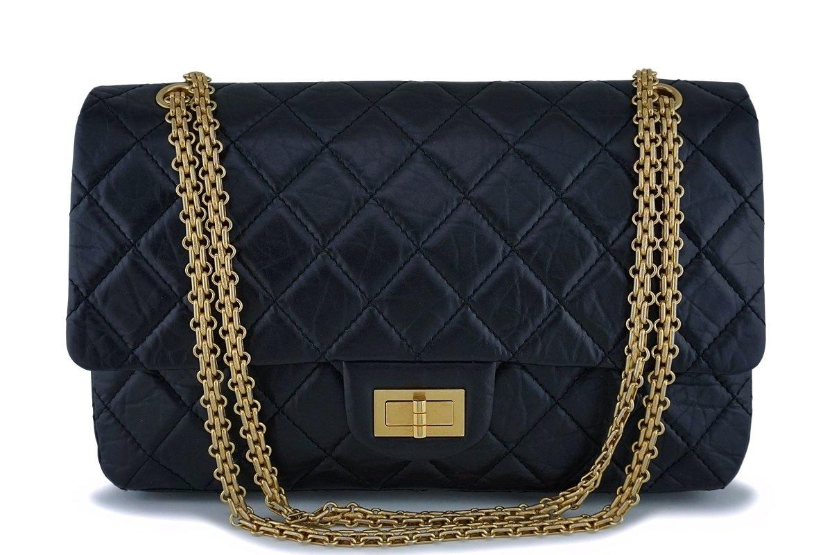 Chanel Black 227 Reissue Classic 2.55 Large Double Flap Bag GHW - Boutique Patina