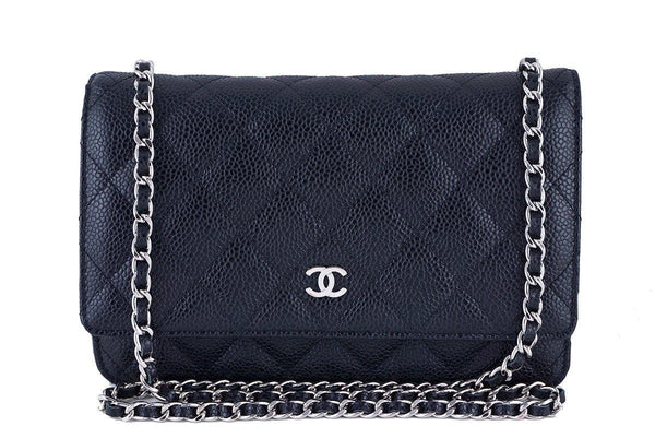 Chanel Black Classic Quilted WOC Wallet on Chain Flap Bag