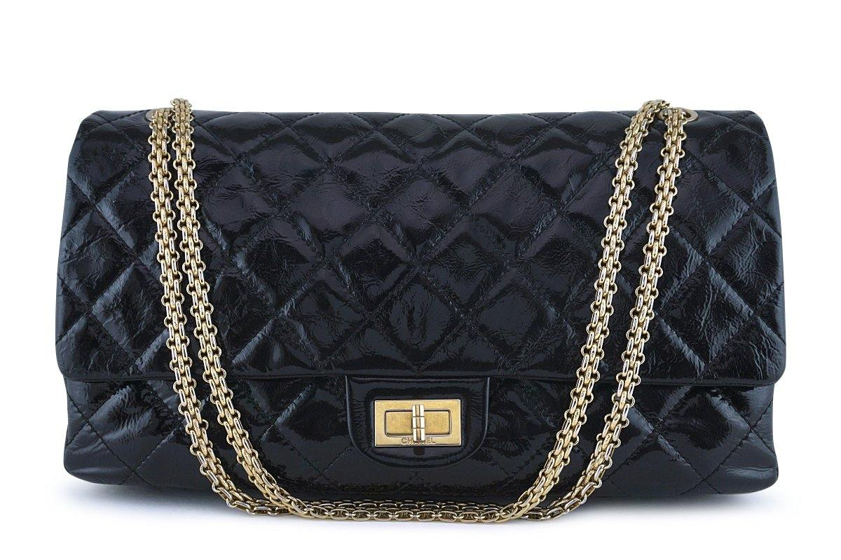 Chanel Black Patent 227 Reissue Classic 2.55 Jumbo Flap Bag