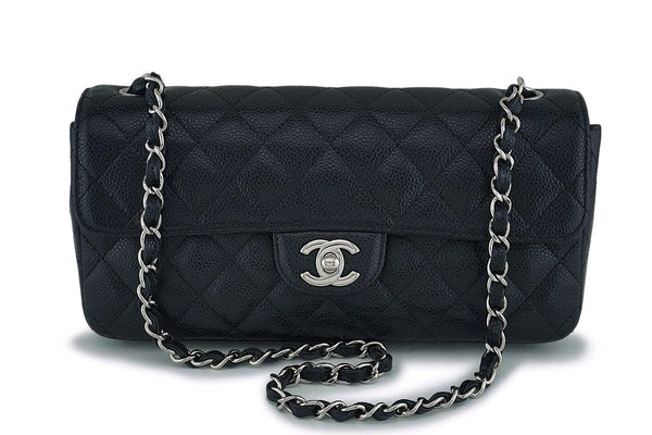Chanel Black Caviar East West Medium Classic Clutch Flap Bag SHW