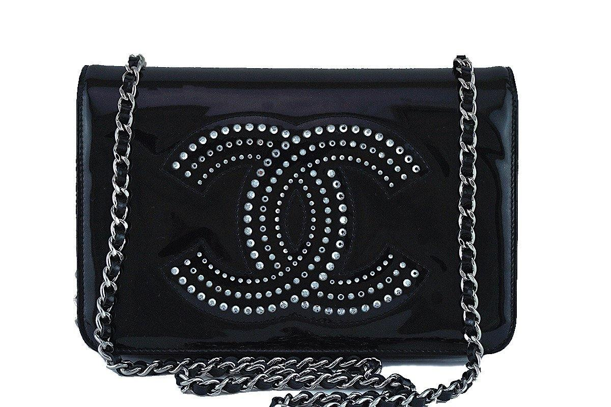 Chanel Black Patent Strass Crystals WOC Flap Wallet on Chain Purse ... ca0e31f6a8a74