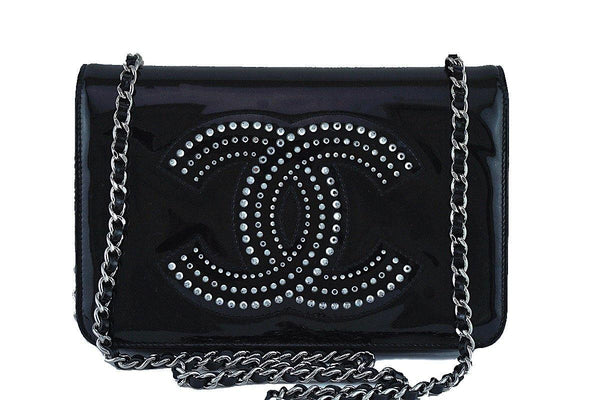 Chanel Black Patent Strass Crystals WOC Flap Wallet on Chain Purse Bag